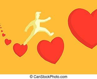 Man jumping between hearts - Cartoon illustration of man in...