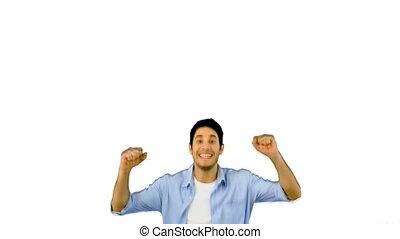 Man jumping for joy on white backgr