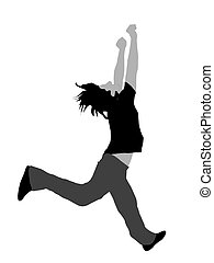 man jumping for joy on white background