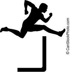 Man jumping over hurdles