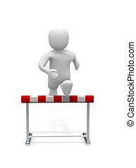 Man jumping over the hurdle. 3d rendered illustration.
