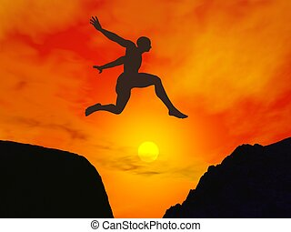 Man jumping through the gap - 3D render - Silhouette of a...