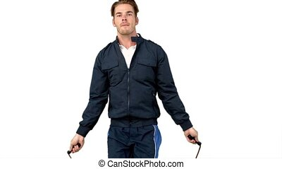 Man jumping with skipping rope in slow motion on white...
