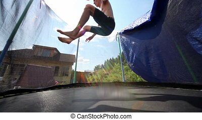 Man jumps and sank to his bottom on trampoline