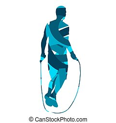 Man jumps rope. Abstract blue vector silhouette