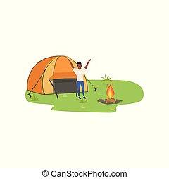 man, kamperen, in, natuur, met, vuur, voor, de, tentje, het reizen, en, relaxen, concept, zomer, vakanties, vector, illustratie, op, een, witte achtergrond