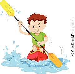Man kayaking on the river illustration