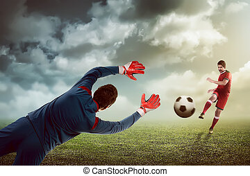 Man kick ball on the goalkeeper