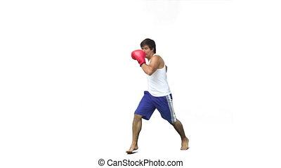 Man kick-boxing in slow motion