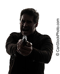 man killer policeman aiming  gun silhouette