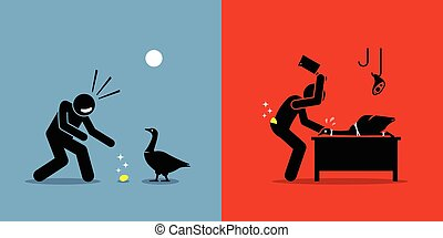 Man Killing a Golden Goose with a Gold Egg.