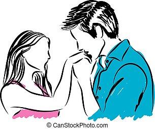 man kissing hand of a woman illustr