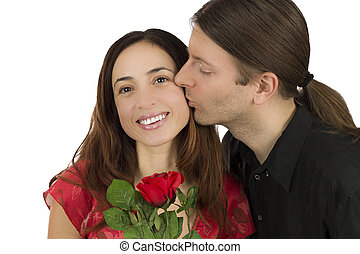 Man kissing his wife