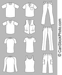 man, kleren, zomer, verzameling