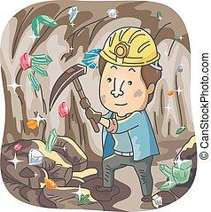 man, kleurrijke, kristal, mijnwerker