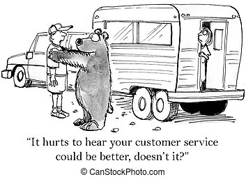 """Man knows the bear is not good at service - """"It hurts to..."""