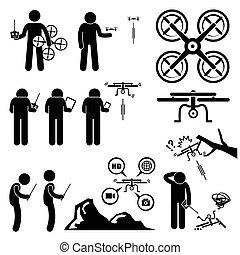 man, kontrollerande, drönare, quadcopter