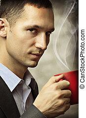 man, kop, koffie, hebben