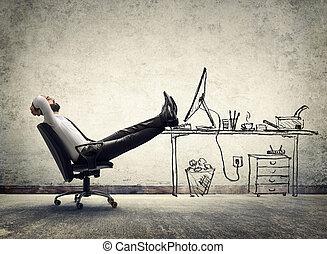 man, koppla av, -, kontor, sittande
