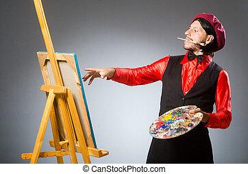 man, kunstenaar, in, kunst, concept
