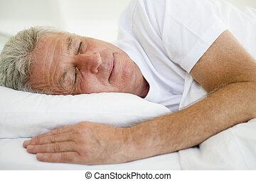 man, lögnaktig, säng, sova