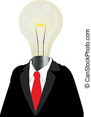 man lamp - illustration of business man with red tie and...