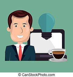 man laptop idea coffee