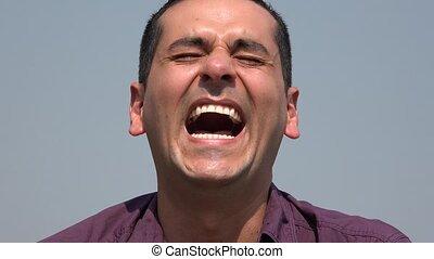 Man Laughing Having Fun