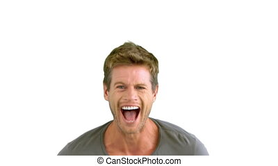 Man laughing on white background