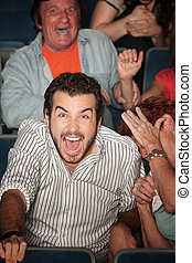 Man Laughs Out Loud - Young Caucasian laughs out loud in ...