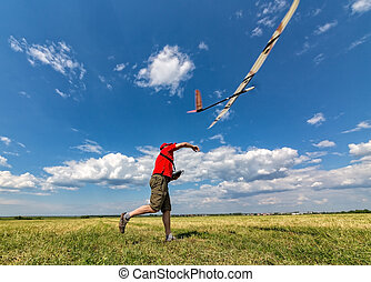 Man Launches into the Sky RC Glider, wide-angle