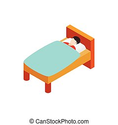 Man laying in bed icon, isometric 3d style