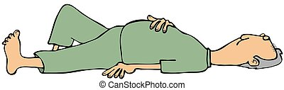 Man laying on back with eyes closed