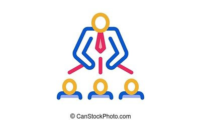 Man Leadership Icon Animation. color Man Leadership animated icon on white background