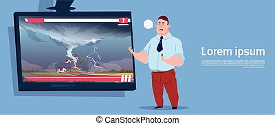 Man Leading Live TV Broadcast About Tornado Destroying Farm Hurricane Damage News Of Storm Waterspout In Countryside Natural Disaster Concept