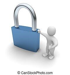Man lean on padlock. 3d rendered illustration.