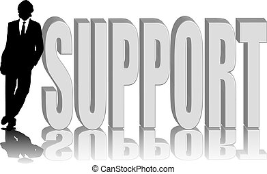 man lean support - A man leaning against the word supportin...
