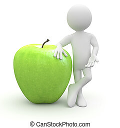 Man leaning on a huge green apple