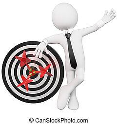 Man leaning on a target