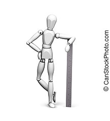 Man leaning on ruler - 3D render of wooden man leaning on a...
