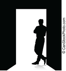 man leaning on the door