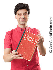 man learning English