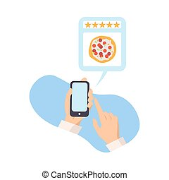 Man leaves a review for pizza vector illustration