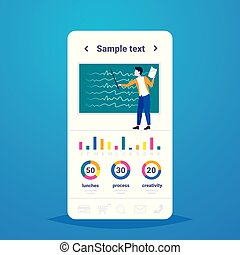 man lecture college teacher holding pointer and paper answer sheet lecturer pointing something on chalkboard education infographic concept full length flat copy space