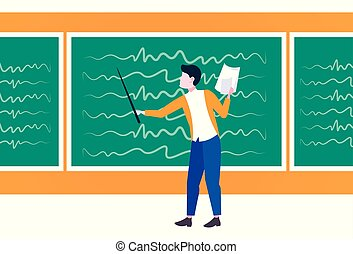 man lecture college teacher holding pointer and paper answer sheet lecturer pointing something on chalkboard education concept male cartoon character full length flat horizontal
