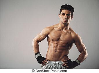 man, lichaamsbouw, jonge, gespierd, aantrekkelijk