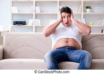 man, lidande, från, extra, vikt, in, kost, begrepp