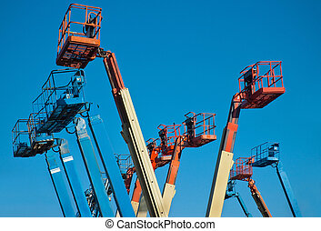 Man lift Crane booms - Crane with basket for hoisting a ...