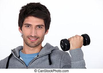 Man lifting a dumbbell