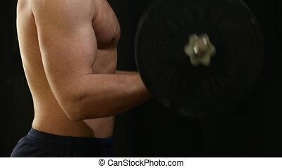 man lifting barbell biceps coaching